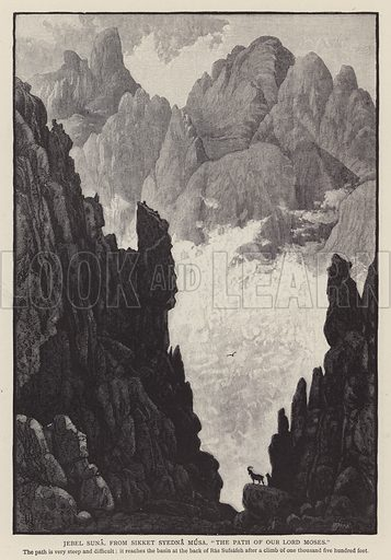 """Jebel Suna, from Sikket Syedna Musa, """"The Path of Our Lord Moses"""". Illustration for Picturesque Palestine edited by Sir Charles Wilson (Virtue, c 1880)."""
