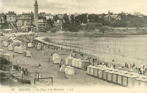 Beach and Pointe de la Maloine, Dinard. Postcard, early 20th century.