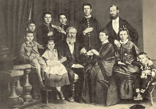 Anton Chekhov and his family, Taganrog, Russia, 1874. Chekhov is second from left in the back row. Postcard.