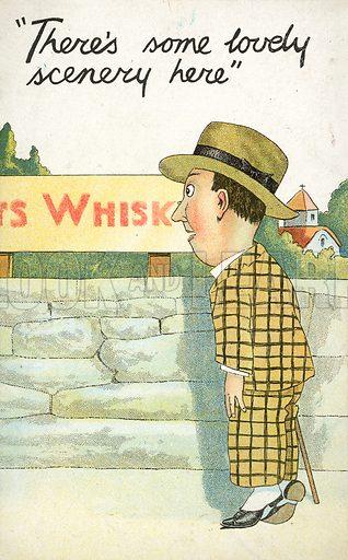 Man looking toward whisky distillery