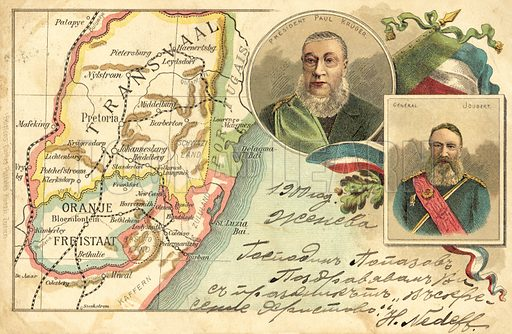 Map of Transvaal and Orange Free State and portraits of Boer
