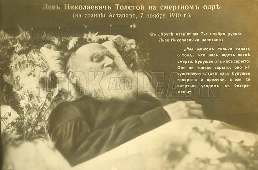 Tolstoy on his death bed, 1910.  Note: Image retouched to remove most of dirt.