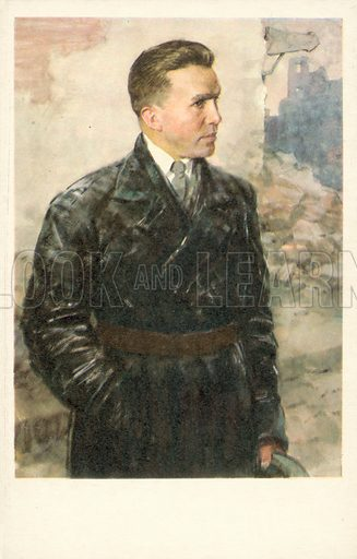 Nikolay Kuznetsov (1911–1944), Soviet intelligence agent and Second World War partisan. Kuznetsov was active in German-occupied Ukraine, kidnapping and assassinating several senior Nazi officials. He was posthumously made a Hero of the Soviet Union. Postcard.