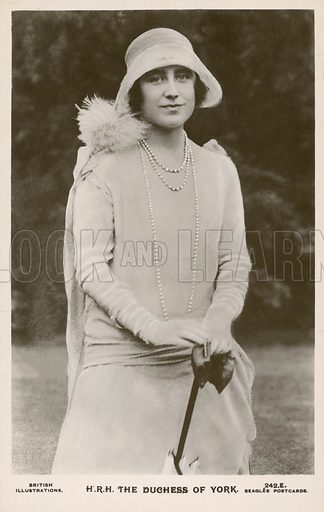 The Duchess of York (1900-2002). The future Queen consort of King George VI, and mother of Queen Elizabeth II. Postcard, early 20th century.