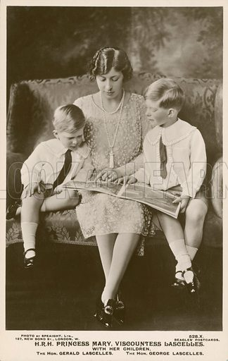 Princess Mary, Viscountess Lascelles (1897-1965), with her two children, George (1923-2011) and Gerald (1924-1998). Postcard, early 20th century.