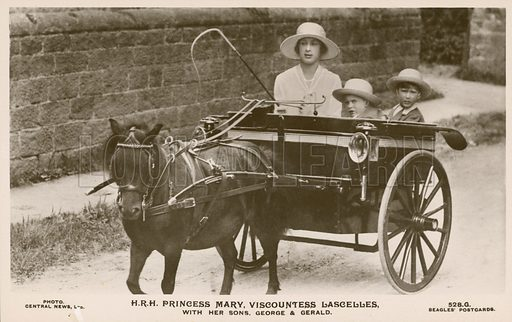 Princess Mary, Viscountess Lascelles (1897-1965), with her sons, George (1923-2011) and Gerald (1924-1998). Postcard, early 20th century.