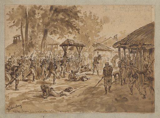Fighting near the River Tivok, Serbia, Serbian-Ottoman War, 12 July 1876.
