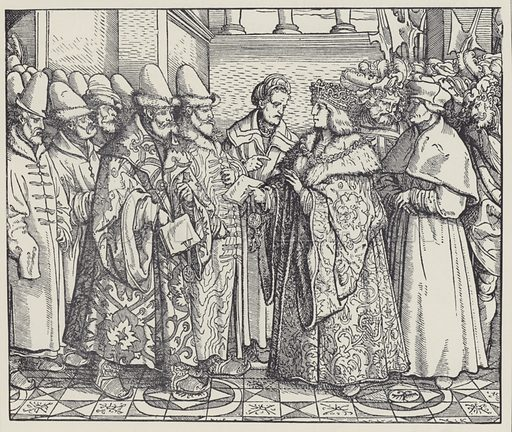 The White Russian Federation with the Emperor Max. The Holy Roman Emperor Maximilian I receiving the embassy of Grand Prince Vasili III of Moscow. Illustration from The World's History, a Survey of Man's Record (Wiiliam Heinemann, London, 1903).