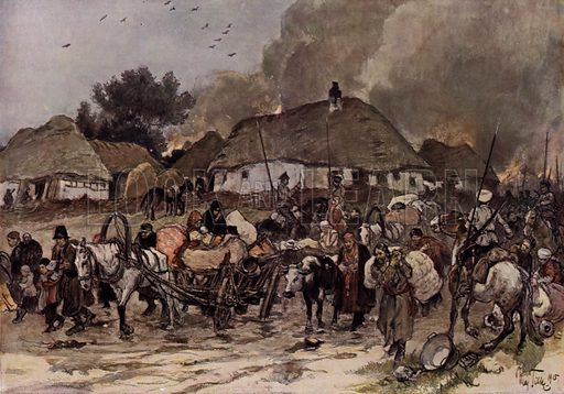 On the way to Brest-Litovsk. Polish refugees being forced along a road by Cossacks. Illustration from Illustrierte Geschichte des Weltkrieges 1914/15.