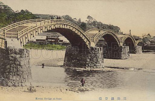 Kintai Bridge, Iwakuni, Japan. Postcard, early 20th century.
