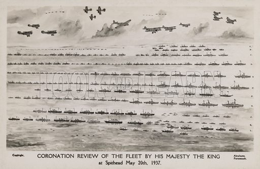 Coronation review of the British fleet by King George VI, Spithead, 20 May 1937. Postcard, early 20th century.