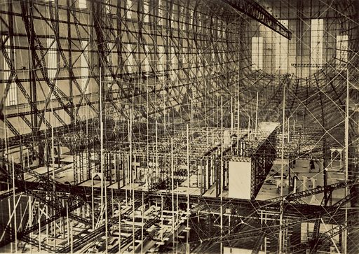 Passenger accommodation of airship LZ 130 (unfinished). From a series of photographs depicting Zeppelin LZ 130 during its construction. Known as the Graf Zeppelin II, and built between 1936 and 1938, LZ 130 was the last of the great German airships.