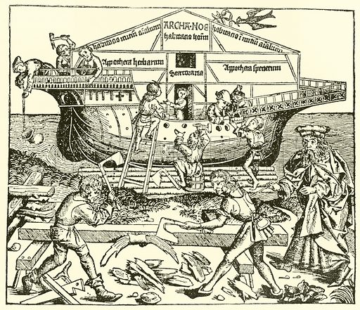 The Building of the Ark superintended by Noah, Schedel, Liber Chronicarum, 1493.  From later reproduction.
