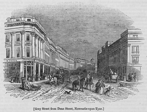 Grey Street from Dean Street, Newcastle-upon-Tyne. Illustration for The Penny Magazine, 1840.
