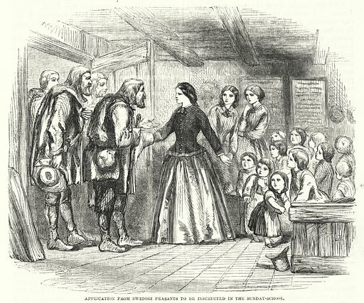 Application from Swedish Peasants to be instructed in the Sunday-School. Illustration for The Sunday At Home, 1857.