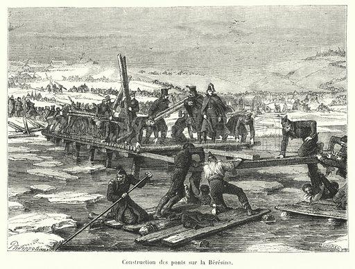 Construction des ponts sur la Beresina. Illustration for Histoire de France Populaire by Henri Martin (Furne, Jouvet, c 1880).