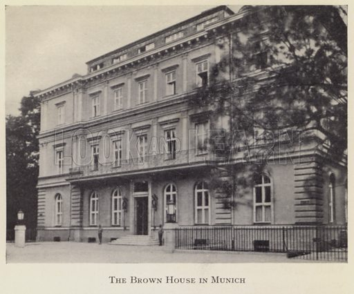 The Braunes Haus (Brown House), headquarters of the Nazi Party in Munich, Germany. Illustration from My Struggle, English translation of Mein Kampf, by Adolf Hitler (Hurst & Blackett, London, c1939).