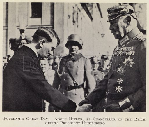Nazi leader and German Chancellor Adolf Hitler greeting President Hindenburg, Potsdam, 21 March 1933. Illustration from My Struggle, English translation of Mein Kampf, by Adolf Hitler (Hurst & Blackett, London, c1939).