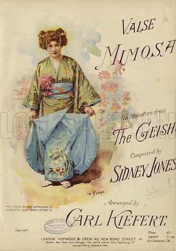 Valse Mimosa, on melodies from The Geisha, composed by Sidney Jones and arranged by Carl Kiefert. Victorian sheet music cover.