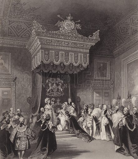Queen Victoria on the throne, St James's Palace, London. Illustration from London Interiors, with their Costumes & Ceremonies. From Drawings Made by Permission of the Public Officers, Proprietors & Trustees of the Metropolitan Buildings (J Mead and William Ball, London, c1842).