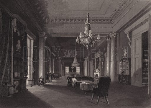 Drawing room of the Athenaeum Club, London. Illustration from London Interiors, with their Costumes & Ceremonies. From Drawings Made by Permission of the Public Officers, Proprietors & Trustees of the Metropolitan Buildings (J Mead and William Ball, London, c1842).