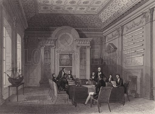Meeting of the Lords of the Admiralty in the Admiralty Boardroom, Whitehall, London. Illustration from London Interiors, with their Costumes & Ceremonies. From Drawings Made by Permission of the Public Officers, Proprietors & Trustees of the Metropolitan Buildings (J Mead and William Ball, London, c1842).
