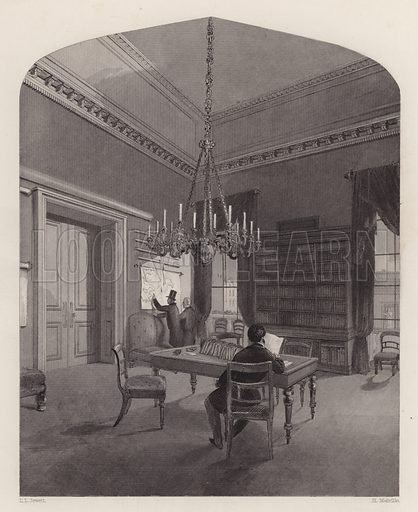 Map Room of the United Service Club, Westminster, London. Illustration from London Interiors, with their Costumes & Ceremonies. From Drawings Made by Permission of the Public Officers, Proprietors & Trustees of the Metropolitan Buildings (J Mead and William Ball, London, c1842).