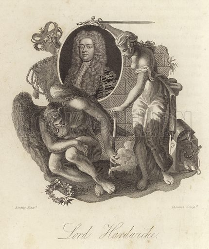 Philip Yorke, 1st Earl of Hardwicke (1690-1764), English lawyer, politician and Lord Chancellor. Illustration from Memoires of the Last Ten Years of the Reign of King George the Second, Volume I, by Horace Walpole, Earl of Orford (John Murray, London, 1822).
