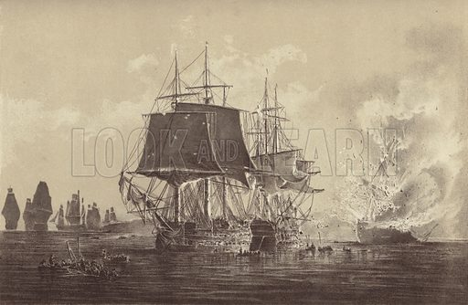 Russian ship Vsevolod destroyed in the presence of the Russian fleet after the action with HMS Implacable, attached to the Swedish Navy and commanded by Captain Thomas Byam Martin, in the Baltic, 26 August 1808. Illustration from Letters and Papers of Admiral of the Fleet Sir Thomas Byam Martin (Navy Records Society, 1901).