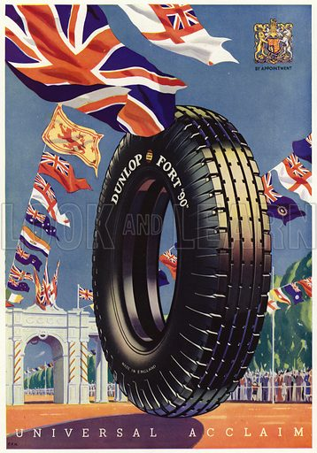 Advertisement for Dunlop tyres, May 1935.  Signed: CFH.