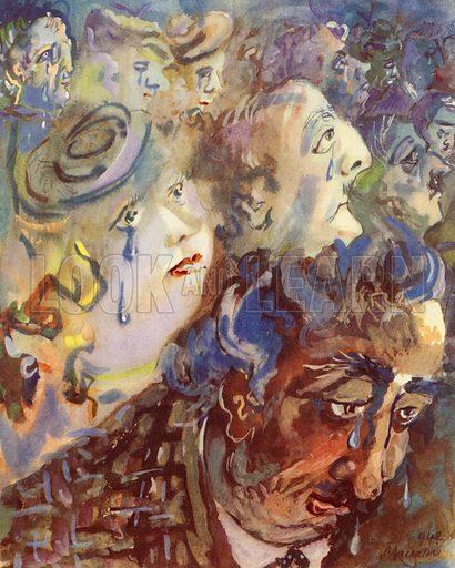 Miracoli del Film - Tears in the cinema.  Spesso chi nella vita ha cuore tosto / Al  Cinema singhiozza di bascosto.  From an unidentied issue of Documento, c 1943.