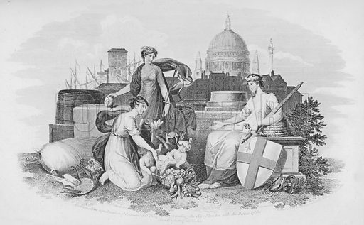 Emblematical representation of Commerce and Plenty presenting the City of London with the Riches of the Four Quarters of the World.  Illustration for London, being an accurate history and description of the British Metropolis, by David Hughson (J Stratford, 1806-11).