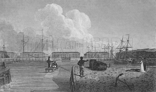 London Docks, Wapping.  Illustration for London, being an accurate history and description of the British Metropolis, by David Hughson (J Stratford, 1806-11).