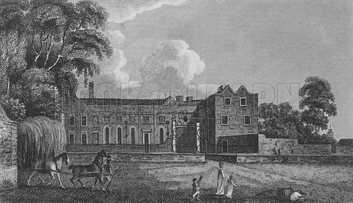 Cheshunt House, Hertfordshire.  Illustration for London, being an accurate history and description of the British Metropolis, by David Hughson (J Stratford, 1806-11).