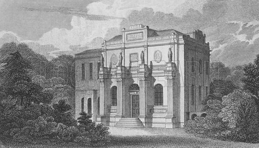 The villa of John Soane, Great Ealing.  Illustration for London, being an accurate history and description of the British Metropolis, by David Hughson (J Stratford, 1806-11).