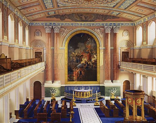 The Altar.  Illustration for a 1955 brochure about the redecoration of the Chapel of the Royal Naval College, Greenwich, carried out under the direction of the Ministry of Works.