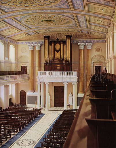 The Organ.  Illustration for a 1955 brochure about the redecoration of the Chapel of the Royal Naval College, Greenwich, carried out under the direction of the Ministry of Works.