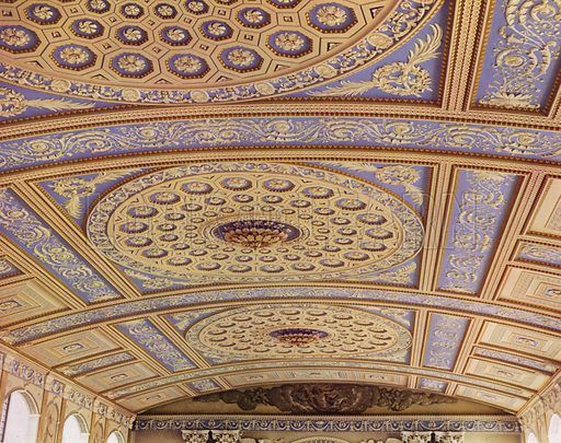 The Ceiling.  Illustration for a 1955 brochure about the redecoration of the Chapel of the Royal Naval College, Greenwich, carried out under the direction of the Ministry of Works.