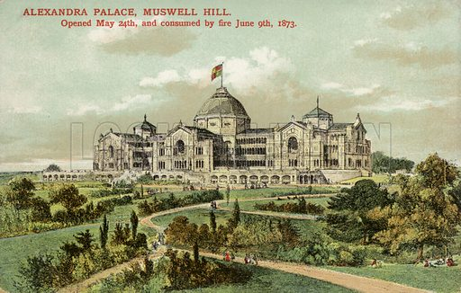 Alexandra Palace, Muswell Hill.  Postcard, early 20th century.