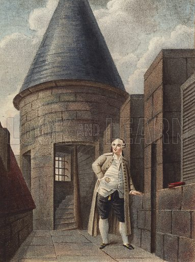 King Louis XVI of France, on the roof of Temple Tower, Paris, 1793.  Loose print.