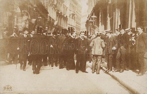 London types, Stock Exchange crowd.  Postcard, early 20th century.