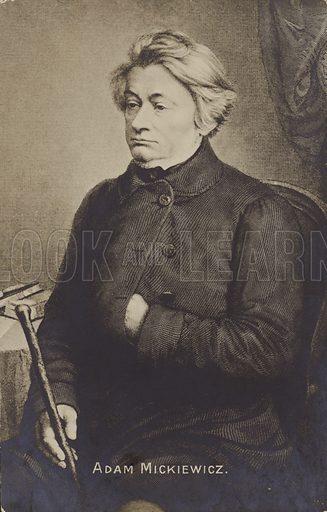 Adam Mickiewicz, 19th Century Polish poet, dramatist and political activist.  Postcard, early 20th century.