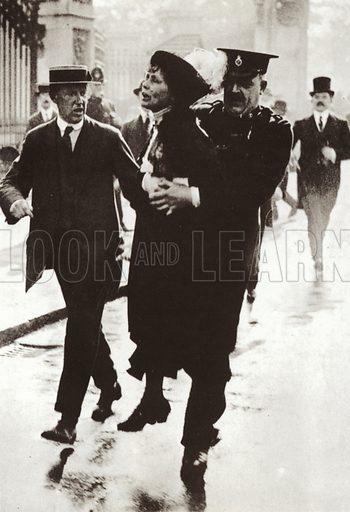 Arrest of Emmeline Pankhurst outside Buckingham Palace, London, 21 May 1914.