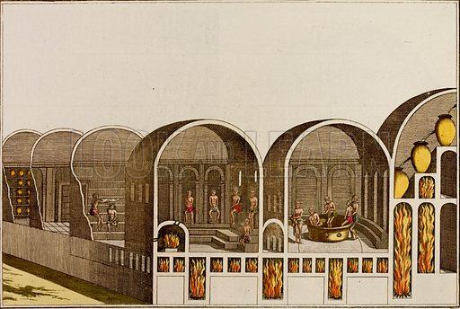 Roman bath house with underfloor heating.