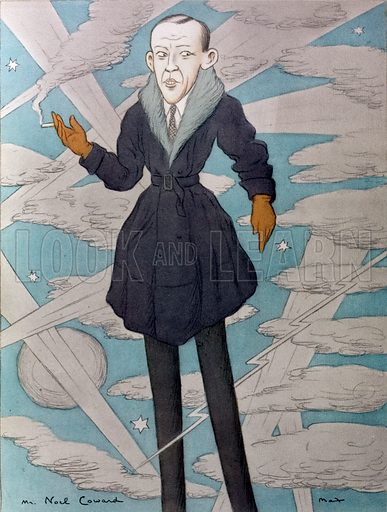 Caricature of English playwright, composer, actor and singer Noel Coward (1899–1973).
