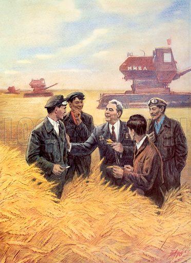 Soviet leader Leonid Brezhnev meeting combine harvester drivers on a collective farm.
