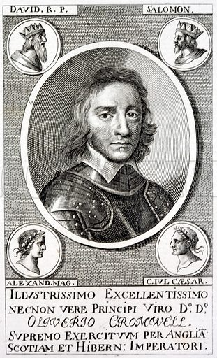 Oliver Cromwell (1599–1658), English Parliamentary politician and soldier, Lord Protector of the Commonwealth of England, Scotland and Ireland after the English Civil War.