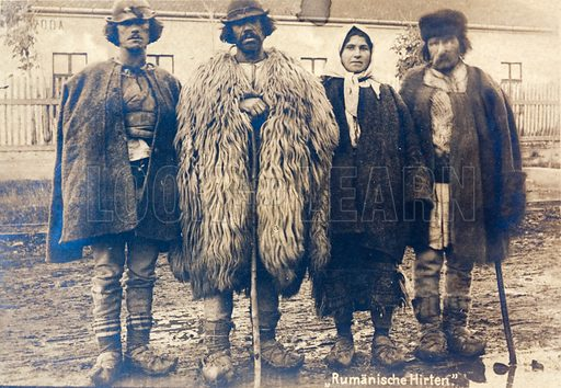 Romanian shepherds. Postcard, early 20th Century.