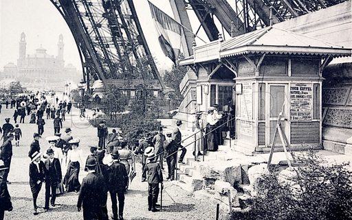 People queueing to visit the Eiffel Tower, Paris, France.