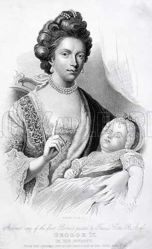Queen Charlotte, Consort of King George III, with their baby son, the future Prince Regent and King George IV, 1762.